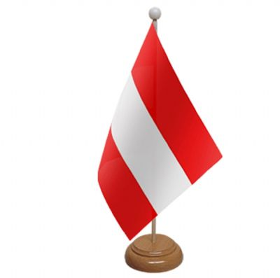 AUSTRIA - TABLE FLAG WITH WOODEN BASE